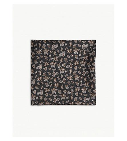 REISS Dario silk pocket square (Black