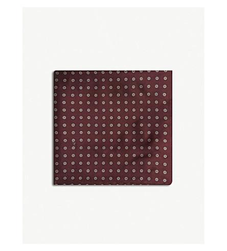 REISS Marco silk pocket square (Bordeaux