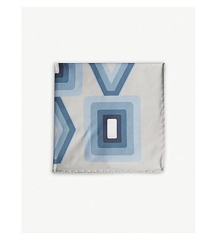 REISS Deco silk pocket square (Blue