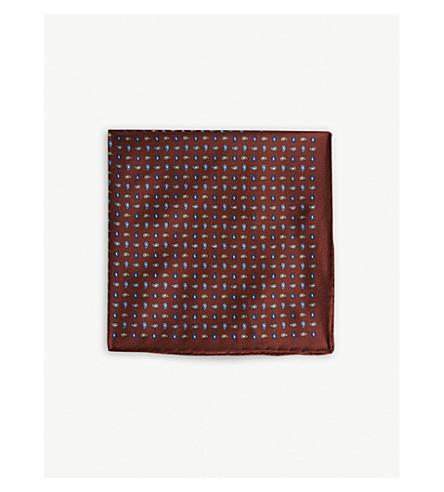 REISS Drop silk pocket square (Rust