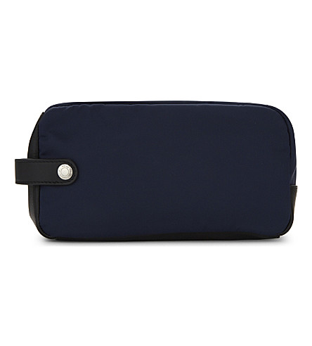REISS Winston zipped nylon washbag (Navy