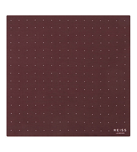 REISS Higgs cotton-silk blend polka dot pocket square (Bordeaux