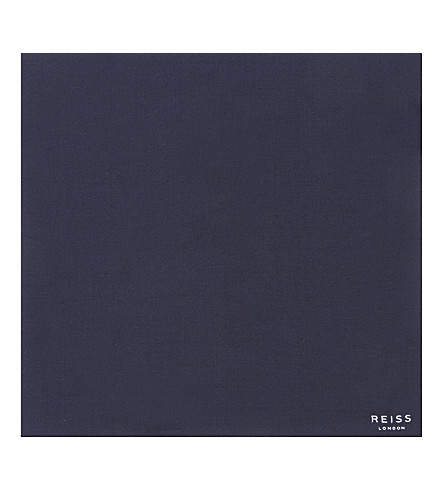 REISS Marrs plain cotton-silk blend pocket square (Navy