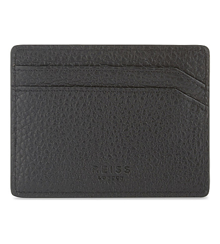 REISS Hellon leather card holder (Black