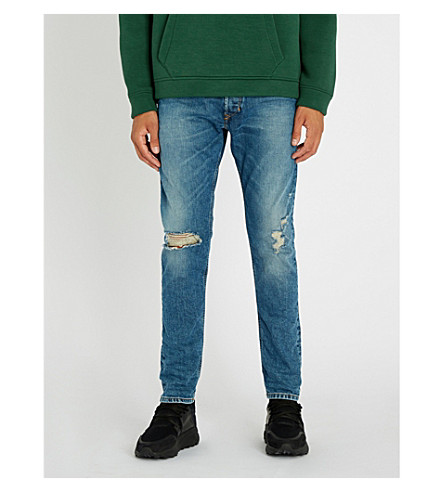 DIESEL Tepphar 仿旧修身版型锥形牛仔裤 (靛蓝