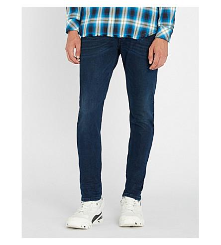 DIESEL Tepphar 刷纹修身版型锥形牛仔裤 (靛蓝
