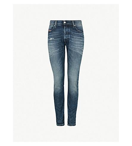 DIESEL Tepphar 针细节修身版型锥形牛仔裤 (靛蓝