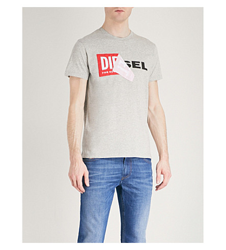 DIESEL T-Diego-Qa cotton-jersey T-shirt (Light+grey+melange