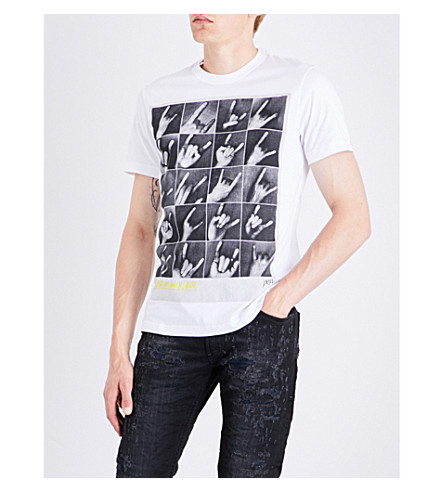 DIESEL T-Joe-Qr printed cotton-jersey T-shirt (Bright+white
