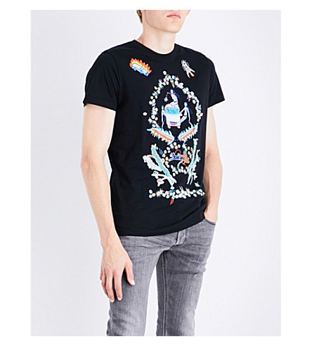 DIESEL T-Diego-Qj embroidered cotton-jersey T-shirt (Black