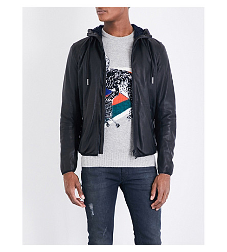DIESEL L-melvins hooded leather jacket (Black