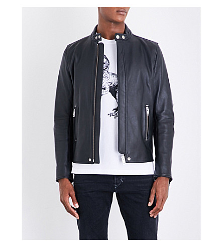 DIESEL L-rush elbow patches leather jacket (Black