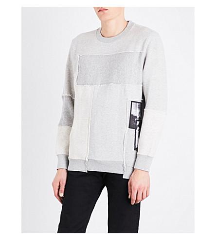 DIESEL S-Lowest patchwork cotton-blend sweatshirt (Light+grey+melange