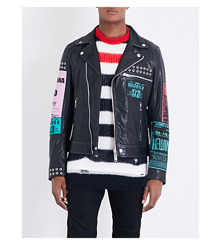 DIESEL L-hater-ed leather biker jacket (Black