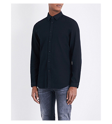 DIESEL S-jacq regular-fit cotton-Oxford shirt (Black