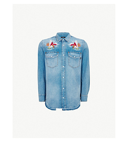 DIESEL D-Rooke embroidered denim shirt (Indigo
