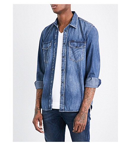 DIESEL D-rooke regular-fit denim shirt (Dark+wash+blue