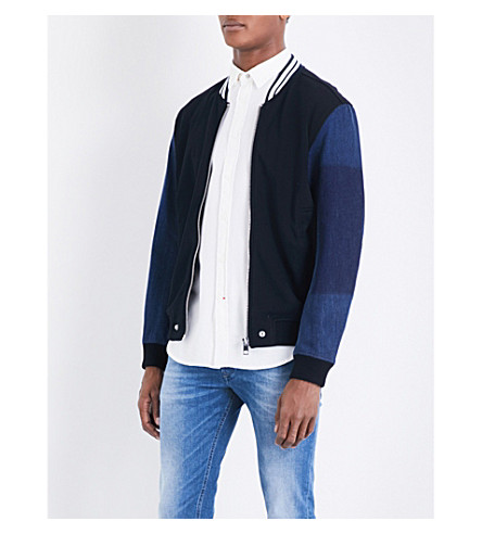 DIESEL S-brother cotton-jersey and denim bomber jacket (Black