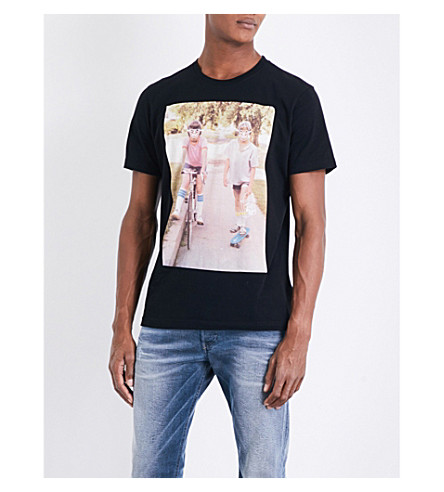 DIESEL T-Joe-Rv printed cotton-jersey T-shirt (Black