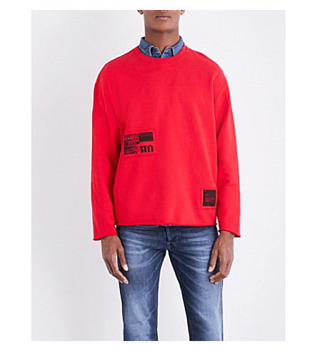 DIESEL S-Osvaldo-Ls-Ra cotton sweatshirt (Tango+red