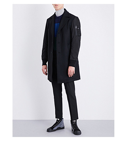 DIESEL W-Customiz wool-blend coat (Black