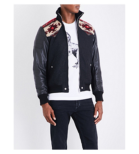 DIESEL L-padh high-neck geometric-knit cool-blend and leather jacket (Black