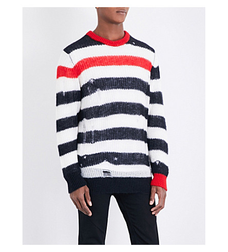 DIESEL K-Dock distressed striped jumper (Black