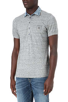 DIESEL T-Jump-RS denim collar polo shirt