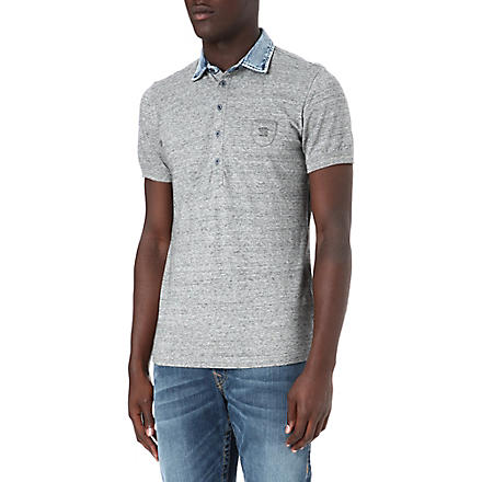 DIESEL T-Jump-RS denim collar polo shirt (Grey