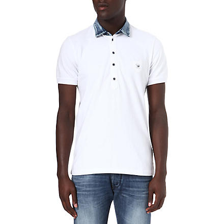 DIESEL T-Jump-RS denim collar polo shirt (White