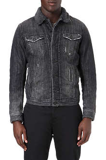 DIESEL Elshar shearling collar denim jacket
