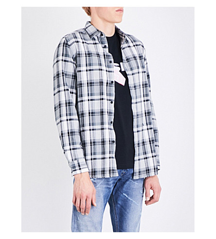 DIESEL S-Luck regular-fit cotton-flannel shirt (Black