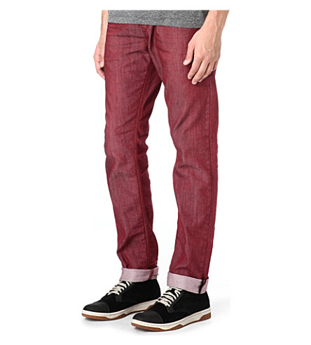 DIESEL Regular-slim carrot-fit straight jeans (Burgundy
