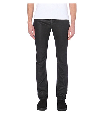 DIESEL Thavar-ne slim mid-rise leather-effect jeans (Denim