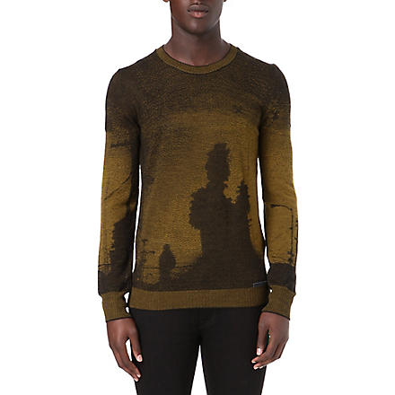 DIESEL Graphic jacquard mixed wool knitted jumper (Tobacco