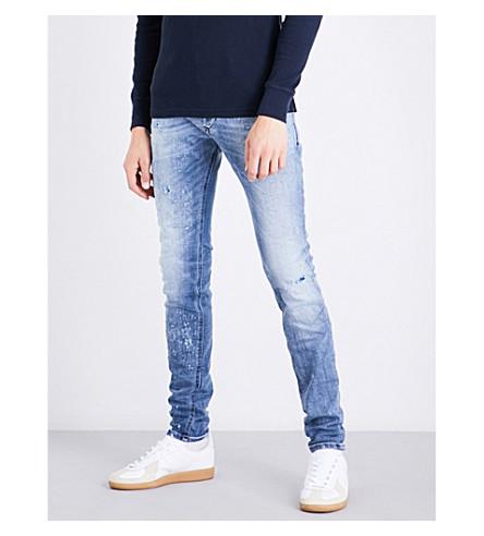 DIESEL Sleenker distressed skinny mid-rise stretch-denim jeans (Light+wash+blue
