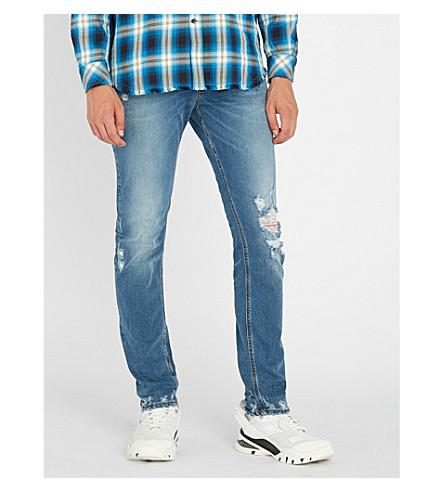 DIESEL Sleenker 仿旧修身版型紧身牛仔裤 (靛蓝