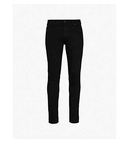 DIESEL Sleenker 斜线膝修身版型紧身牛仔裤 (黑色