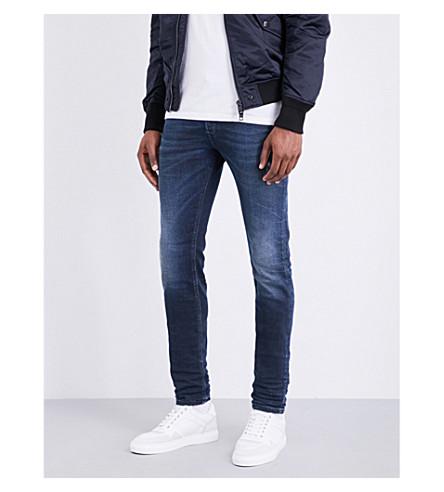 DIESEL Sleenker 修身版型紧身牛仔裤 (深色 + 水洗 + 靛蓝色)