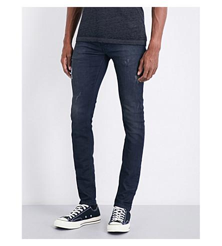 DIESEL Sleenker 修身版型紧身牛仔裤 (暗 + 洗 + 黑