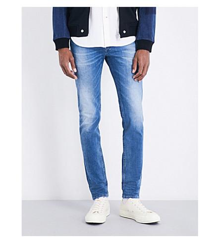 DIESEL Sleenker 修身版型紧身牛仔裤 (中 + 洗 + 蓝