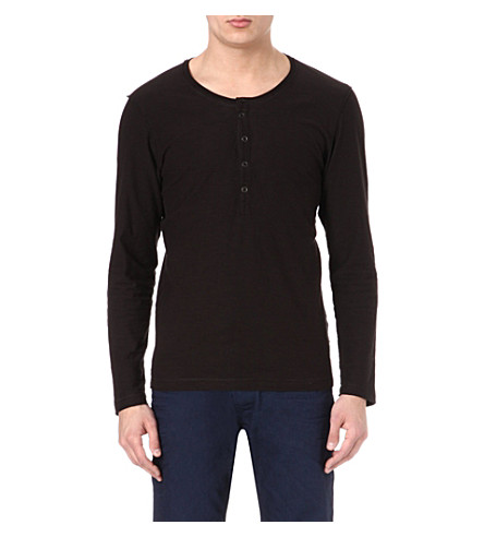 DIESEL Long-sleeved Henley top (900 (black)