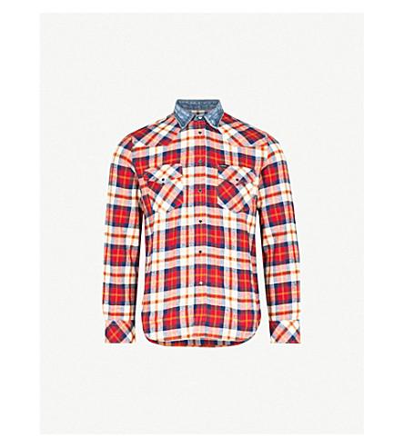 DIESEL s-东方格棉衬衫 (探戈 + 红