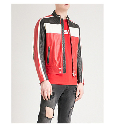 DIESEL L-Street panelled leather jacket (Tango+red