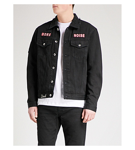 DIESEL D-Hill patch-appliqué denim jacket (Denim+black