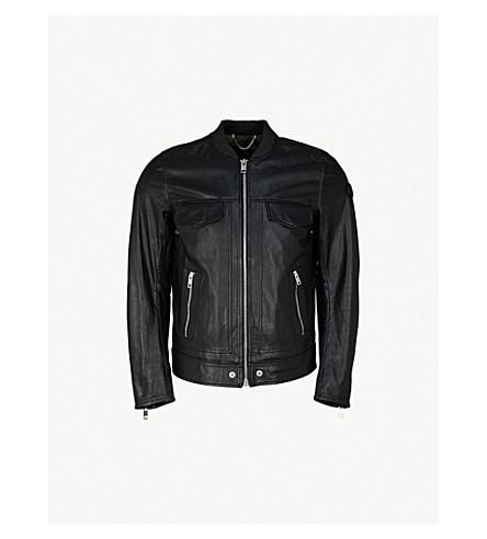 DIESEL L-Landing leather bomber jacket (Black