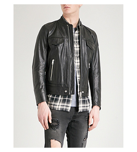 DIESEL L-Landing leather bomber jacket (Black