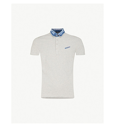DIESEL T-Sam cotton-piqué polo shirt (Light+grey+melange