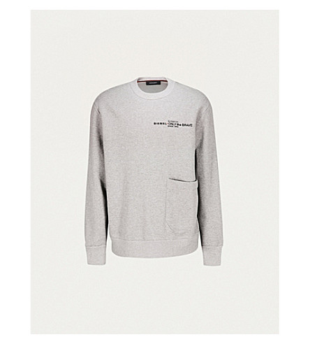 DIESEL S-Ellis-Cl cotton-jersey sweatshirt (Light+grey+melange