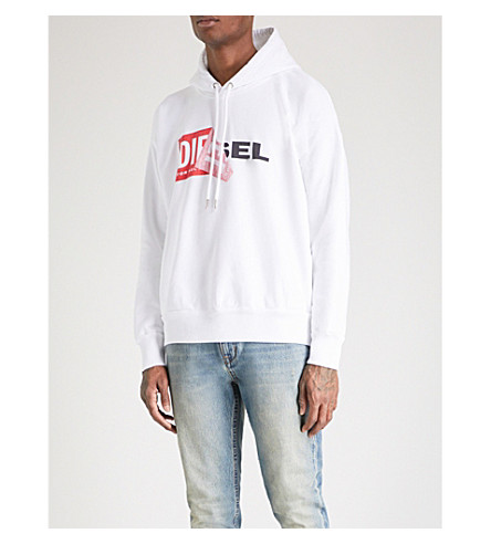 DIESEL S-alby logo-print cotton hoody (Bright+white